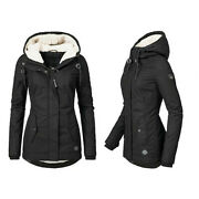 Women's Long Sleeve Hooded Thick Wool Lining Pullover Warm Winter Jacket Coats