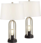 Farmhouse Industrial Nickel Silver Table Lamps Set Of 2 With Nightlight Led