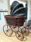 Antique Victorian Baby Doll Stroller Vintage Wicker Carriage Doll Buggy