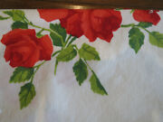 Vintage 1950s Tablecloth Wilendur Red Roses