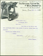 National Cotton Gin And Wool Burrer Co Boston Ma Letter And Envelope 1892