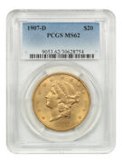 1907-d 20 Pcgs Ms62 - Liberty Double Eagle - Gold Coin