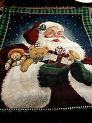 Santa Claus And Toy Bag American Weavers Tapestry Throw Blanket 48andrdquox59andrdquo Red Green