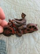 Hubley Police Cop Rare Antique Cast Iron Cycle Car Civilian Motorcycle Truck