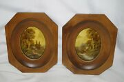 Antique Pair Miniature Oil Paintings Italy Signed Rogers Octagonal Wood Frames