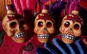 Lot Of 3 Empty Kah Tequila Hand Painted Day Of The Dead Skull Head Bottles 50 Ml