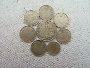 Eight Old Canadian Silver Coins...............