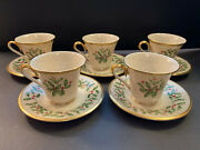 Lenox Fine China Holiday Dimension Series Holly Berries 24k-5 Tea Cups/saucers