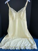 Vintage Vanity Fair Full Slip Size 42 Yellow Nylon Lace And Embroidery Usa Made