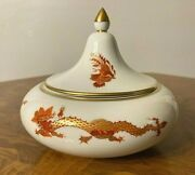 Meissen Ming Red Dragon Sugar Condiment Container Jar Pot With Lid
