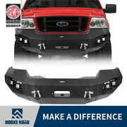 Hooke Road Front Bumper W/winch Plateled Lightsd-rings For Ford F150 2004-2008