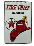 3-53 Large Original And Authentic ''texaco Fire Chief'' 18x11 Inch Porcelain Sign
