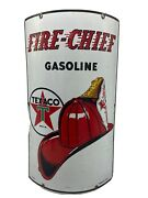 9-40 Large Original And Authentic ''texaco Fire Chief'' 18x11 Inch Porcelain Sign