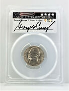 1945 D Jefferson War Silver Nickel 5c Pcgs Ms 67 General George Casey Signed C10