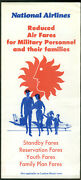 National Airlines Reduced Air Fares For Military Personnel Airline Folder 1960s