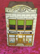 West Brothers 1914 Tin Litho Drug Store Candy Container - Toys And Confectionery
