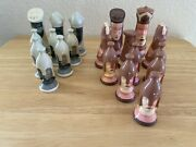 Chess Pieces Ceramic Porcelain Chess Set Hand Painted 20pcs Incomplete