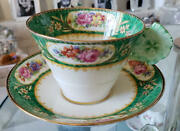 1933-1934 Antique Paragon Flower Handle Teacup And Saucer Green