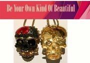 """Costume Jewellery, Bold, Big, Necklace, Pendant """"scull"""" Hip Hope, Goths, Rock"""
