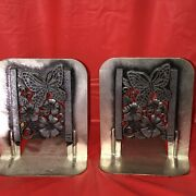 Vintage Pewter Bookends Butterfly And Flower Design 1980 Metzke 2pcs