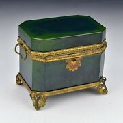 Rare Large French Opaque Green Blue Footed Jewelry Casket 19th Century