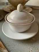 Antique Ironstone Bowl With Attached Underplate And Lid, Farmhouse, French Cottage