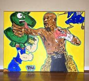 """""""fight For It"""" Floyd Mayweather Painting Kaws Basquiat Jeff Koons Alec Monopoly"""