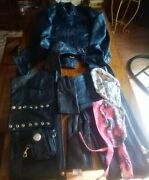 S Womans Mb Classic Leather Chaps, Jacket, Gloves, Ponytail Holder, Cell Case