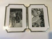 Kate Spade Sullivan Street Silver Plate Hinged Double 4 X 6 Picture Frame, Nib
