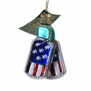 Old World Christmas Military Tags Glass Dog Tags Identification 36293