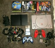 Playstation 1 And Ps 2 Slim Complete Systems 26 Games Controllers Works Great