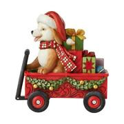 Jim Shore Country Living Christmas Dog In Wagon Figurine 6007444
