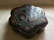 Real Rare Antique Original 1920's Black Carved Painted Dragon Flower Boxfree Sh