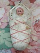 Antique Christmas Hand Painted Dresden Ornament Pink Swaddled Baby Germany