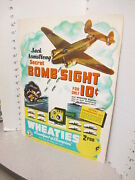 Jack Armstrong 1942 Wwii Secret Bomb Sight Premium Wheaties Cereal Box Sign B