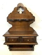 Antique Oak Gothic Spoon Rack / Key Store With Drawers