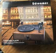 Udreamer Vinyl Record Player Bluetooth Turntable With Built-in Speakers