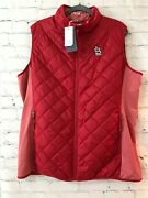 Cutter And Buck Womens Spark System Red Sleeveless Full Zip Quilted Vest Sz Xxl