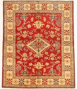 Vintage Geometric Hand-knotted Carpet 5and0392 X 6and0395 Traditional Wool Area Rug
