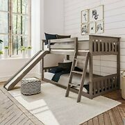 Max And Lily Solid Wood Twin Low Bunk Bed With Slide, Clay
