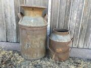 Vintage Antique Creamery Milk Cream Metal Canand039s With Authentic Rustic Look Pair