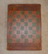 Antique American Primitive Folk Art Painted Green And Red Wood Checkers Game Board
