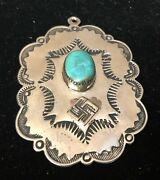 Vintage Whirling Logs Nickel Silver And Turquoise Pendant Bell Trading Post Nava
