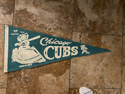 Vintage 1960's Chicago Cubs Wrigley Field 29 Inch Blue Pennant, Very Nice