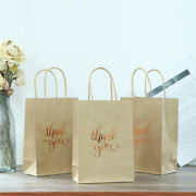 10pcs Shopping Bags Gift Bags Gold Foil Thank You Brown Paper Bags With Handl Ld