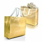 15 Gift Bags Set, Non-woven Reusable Gift Bags With Glossy Finish - Ideal Gold