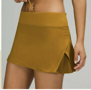 New Women Lululemon Play Off The Pleats Mid Rise Skirt Gold Spice Size 14
