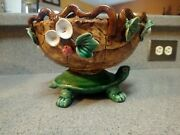 Majolica Turtle Bowl Planter Beautiful Clay Flowers And Detail Pottery Glazed
