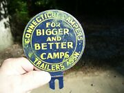 1950s Antique Auto Camping License Plate Topper Vintage Chevy Ford Hot Rat Rod