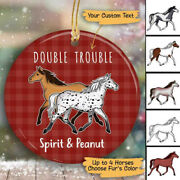 Horse Personalized Christmas Decorative Circle Ornament